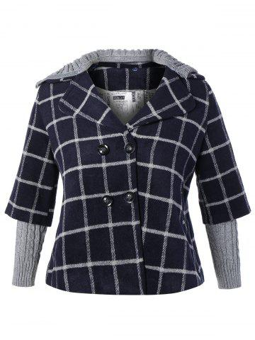 Plus Size Double Breasted Plaid Hooded Coat - Cadetblue - Xl