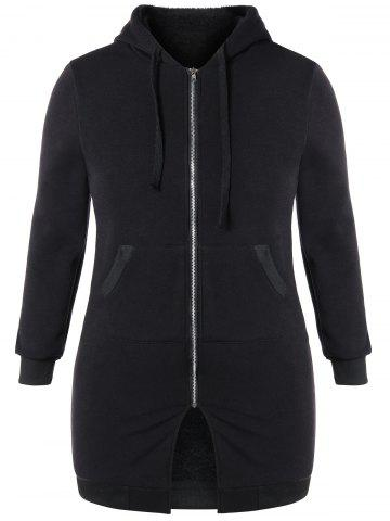 Affordable Plus Size Hooded Zip Up Coat