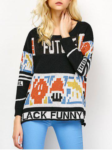 Outfit Pullover Knit Graphic Sweater
