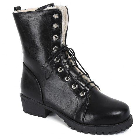 Latest Platform Tie Up PU Leather Short Boots BLACK 39