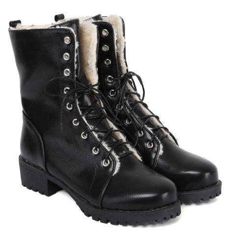 Outfits Platform Tie Up PU Leather Short Boots - 39 BLACK Mobile