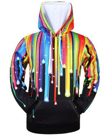 Fashion Kangaroo Pocket Rainbow Drawstring Hoodie BLACK XL