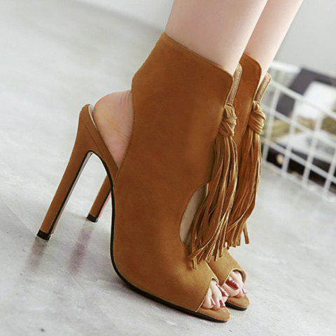 Latest Stiletto Heel Tassels Bootie Sandals - 38 BROWN Mobile