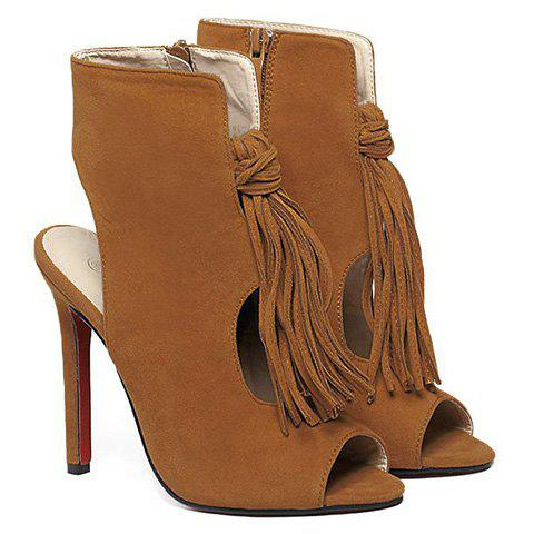 Buy Stiletto Heel Tassels Bootie Sandals - 38 BROWN Mobile