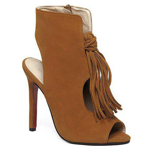 Online Stiletto Heel Tassels Bootie Sandals - 38 BROWN Mobile