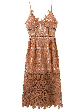 Discount Hollow Out Lace Nude Slip Dress
