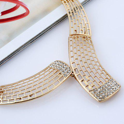 Cheap Alloy Rhinestone Necklace and Bead Earrings - GOLDEN  Mobile