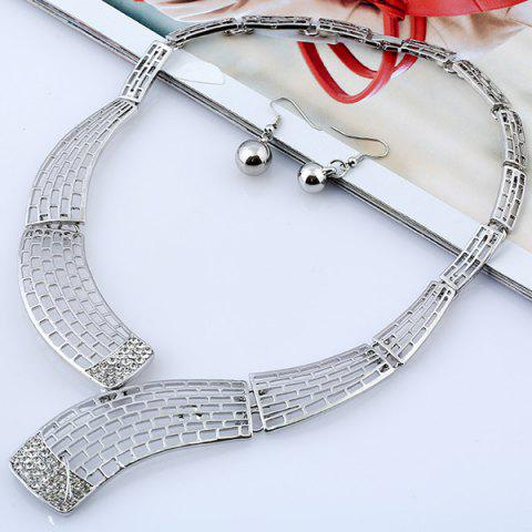 New Alloy Rhinestone Necklace and Bead Earrings - SILVER  Mobile