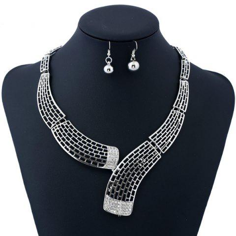 Affordable Alloy Rhinestone Necklace and Bead Earrings - SILVER  Mobile