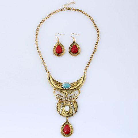 Shop Vintage Rhinestone Teardrop Necklace and Earrings COLORMIX