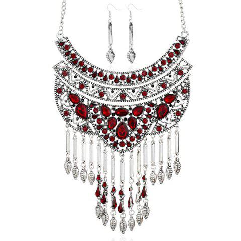 Outfits Artificial Ruby Teardrop Necklace and Earrings