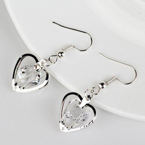 Discount Rhinestone Heart Shaped Earrings - SILVER  Mobile
