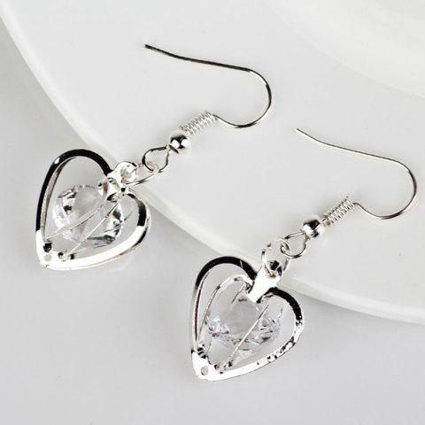 Hot Rhinestone Heart Shaped Earrings - SILVER  Mobile