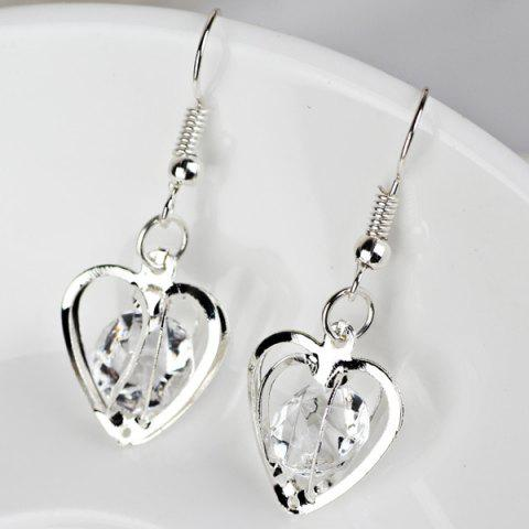 Online Rhinestone Heart Shaped Earrings - SILVER  Mobile