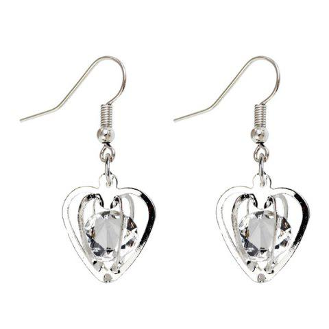 Buy Rhinestone Heart Shaped Earrings - SILVER  Mobile