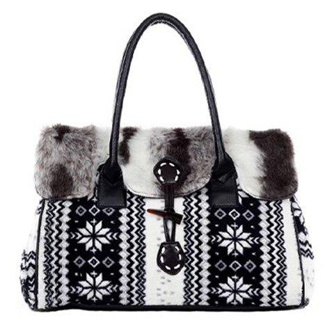 Shops Faux Fur Zigzag and Snowflake Pattern Color Block Tote Bag