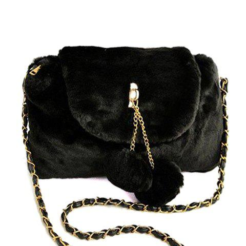 Fuzzy Chain Pompons Crossbody Bag - BLACK
