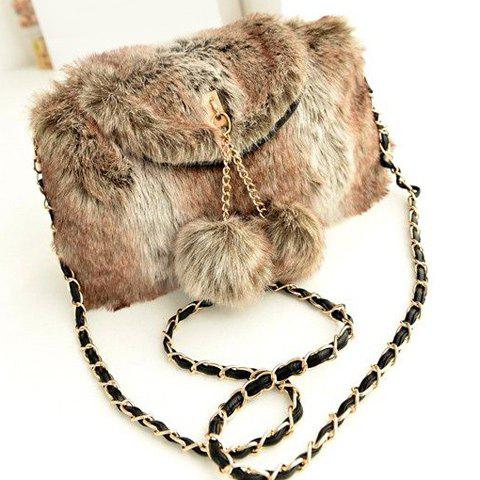 Outfit Chain Pompons Colour Block Crossbody Bag LIGHT BROWN