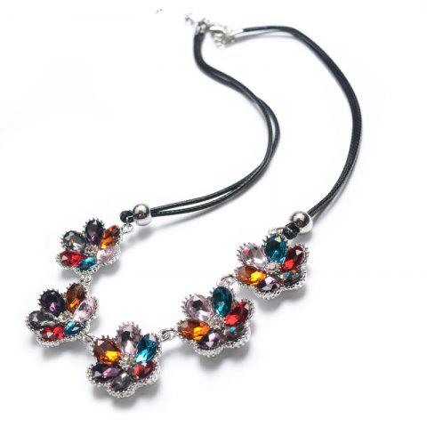 Online Multi Color Rhinestone Floral Necklace