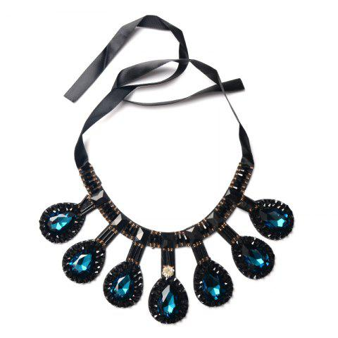 Affordable Ribbon Teardrop Rhinestone Bib Necklace CERULEAN