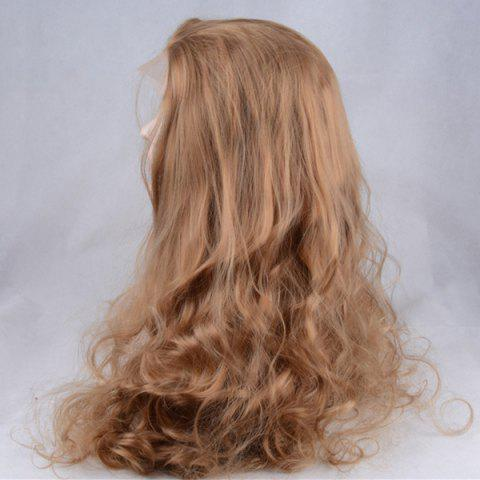 New Shaggy Long Centre Parting Wavy Lace Front Synthetic Wig - COFFEE  Mobile