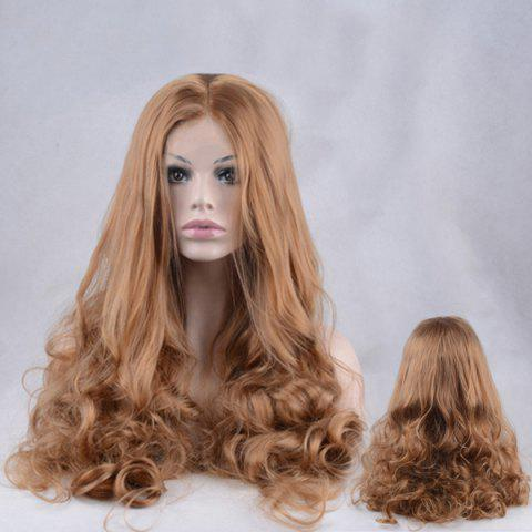 Shops Shaggy Long Centre Parting Wavy Lace Front Synthetic Wig - COFFEE  Mobile