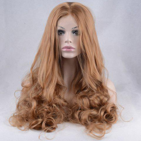 Outfits Shaggy Long Centre Parting Wavy Lace Front Synthetic Wig - COFFEE  Mobile