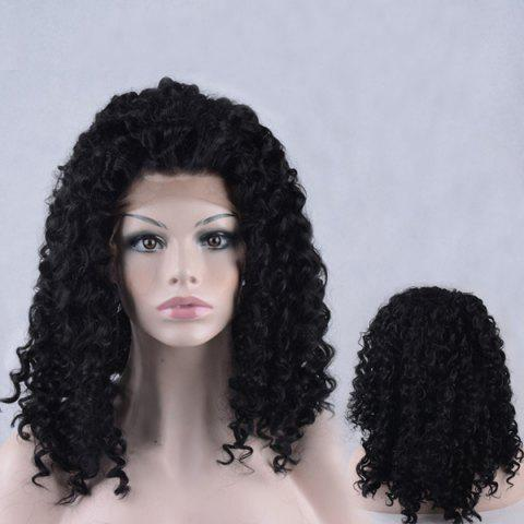 Outfits Shaggy Medium Kinky Curly Lace Front Synthetic Wig - BLACK  Mobile