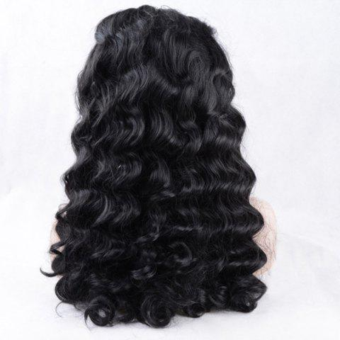 Unique Shaggy Long Body Wave Lace Front Synthetic Wig - BLACK  Mobile