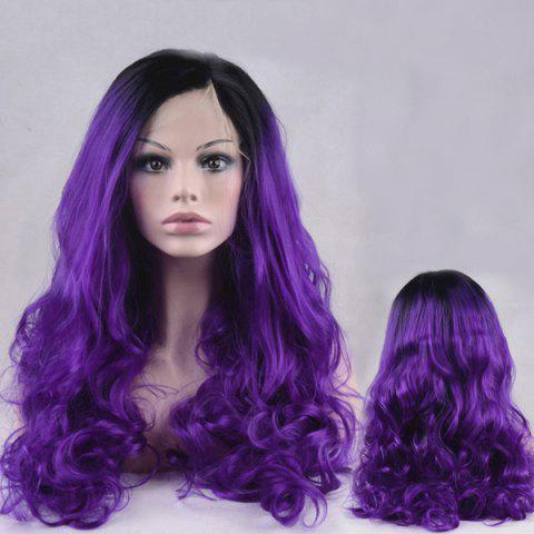 Online Long Side Parting Color Mixed Shaggy Wavy Lace Front Synthetic Wig - DEEP PURPLE  Mobile