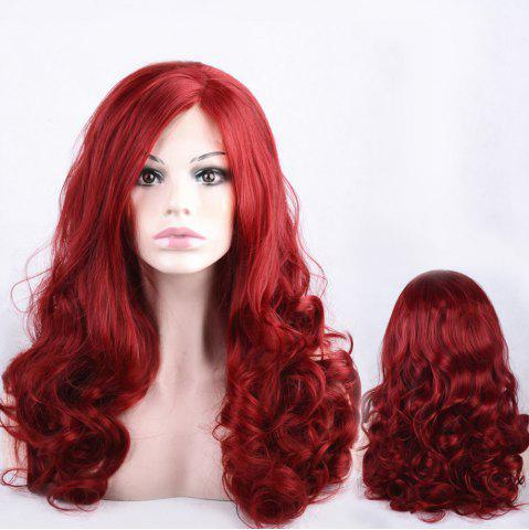 Discount Long Side Parting Shaggy Wavy Lace Front Synthetic Wig - WINE RED  Mobile