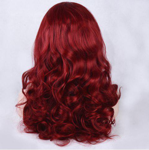 Trendy Long Side Parting Shaggy Wavy Lace Front Synthetic Wig - WINE RED  Mobile