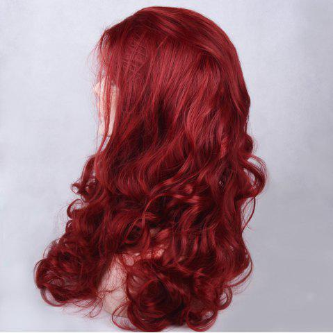 Fancy Long Side Parting Shaggy Wavy Lace Front Synthetic Wig - WINE RED  Mobile