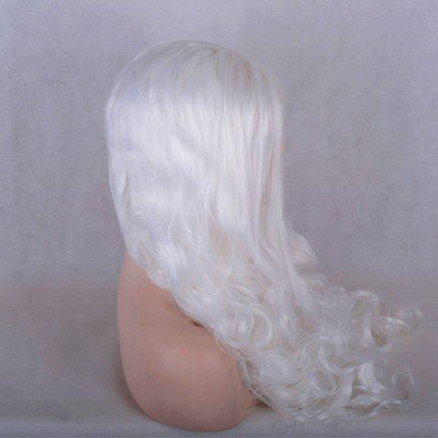 Trendy Long Middle Parting Shaggy Wavy Lace Front Synthetic Wig - WHITE  Mobile