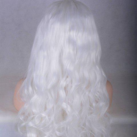 Shop Long Middle Parting Shaggy Wavy Lace Front Synthetic Wig - WHITE  Mobile