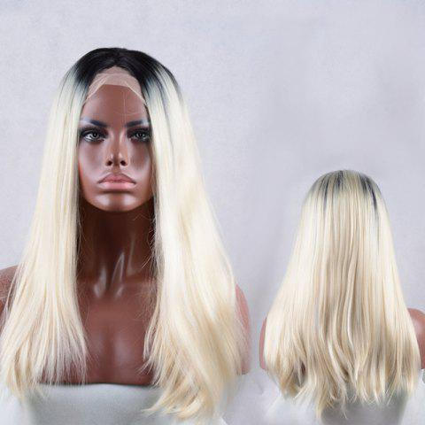 Fancy Long Middle Parting Colormix Natural Straight Lace Front Synthetic Wig
