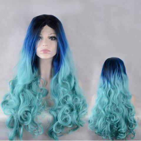 Trendy Long Middle Parting Colormix Wavy Lace Front Synthetic Wig