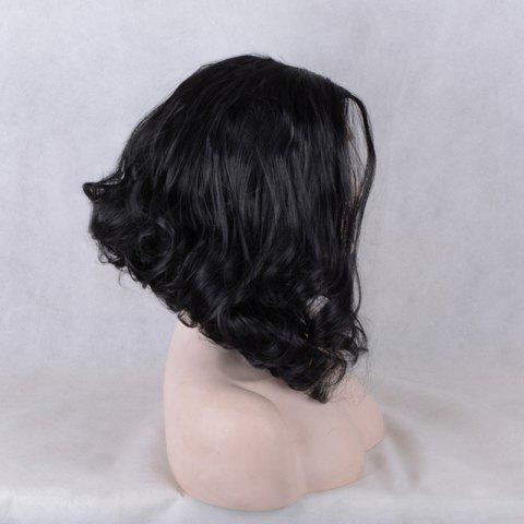 Latest Medium Inclined Parting Shaggy Wavy Lace Front Synthetic Wig - BLACK  Mobile
