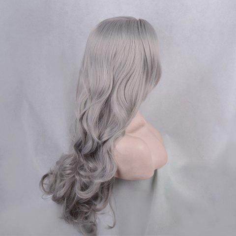 Fancy Long Side Parting Shaggy Body Wave Lace Front Synthetic Wig - GRAY  Mobile