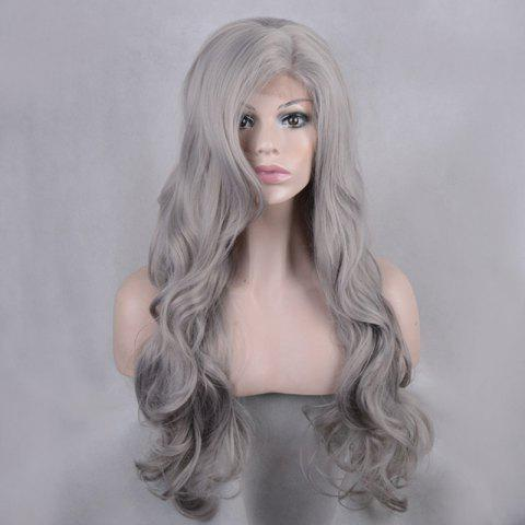 Affordable Long Side Parting Shaggy Body Wave Lace Front Synthetic Wig - GRAY  Mobile