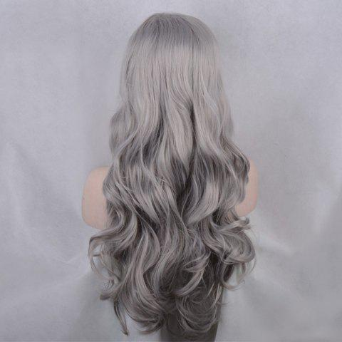 Trendy Long Side Parting Shaggy Body Wave Lace Front Synthetic Wig - GRAY  Mobile