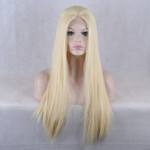 Fancy Natural Straight Long Lace Front Synthetic Wig - GOLDEN  Mobile