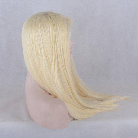 Trendy Natural Straight Long Lace Front Synthetic Wig - GOLDEN  Mobile
