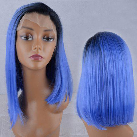 Trendy Side Parting Silky Straight Medium Colormix Lace Front Synthetic Wig