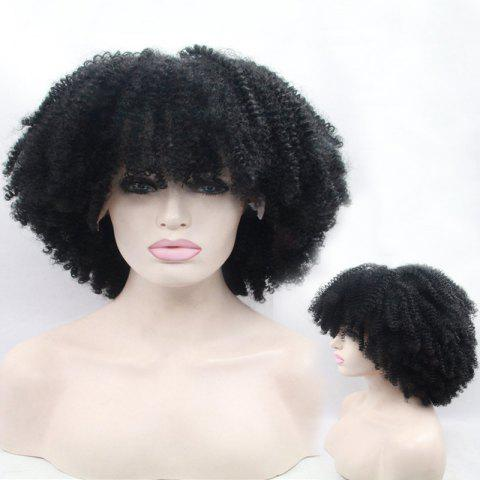 Cheap Short Full Bang Afro Curly Shaggy Lace Front Synthetic Wig - BLACK  Mobile