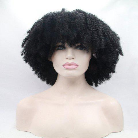 Outfit Short Full Bang Afro Curly Shaggy Lace Front Synthetic Wig - BLACK  Mobile
