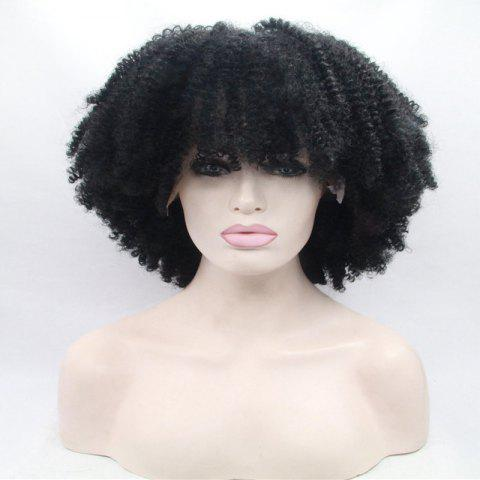 Online Short Full Bang Afro Curly Shaggy Lace Front Synthetic Wig - BLACK  Mobile