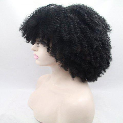 Latest Short Full Bang Afro Curly Shaggy Lace Front Synthetic Wig - BLACK  Mobile