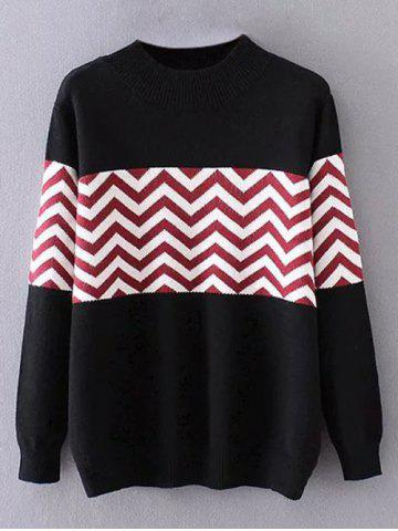 Crew Neck Zigzag Plus Size Sweater - BLACK 3XL