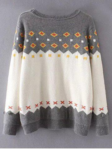 Trendy Crew Neck Color Block Plus Size Sweater - 3XL GREY AND WHITE Mobile